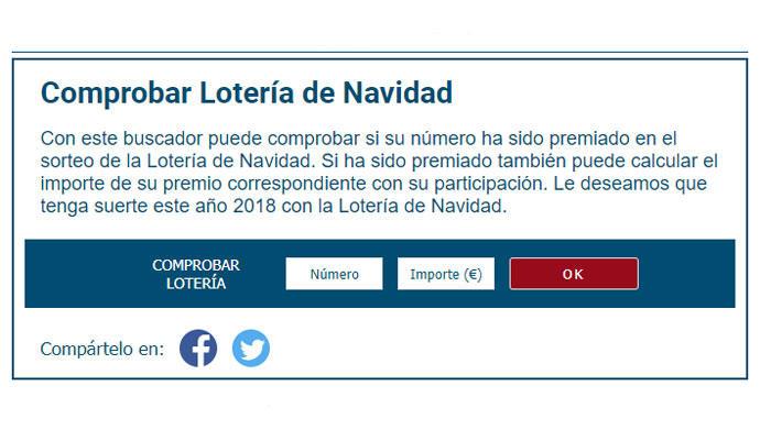 Comprobador de resultados oficiales de la Lotería de Navidad