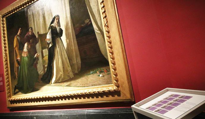 Décimos de lotería con una imagen del cuadro 'Demencia de Doña Juana de Castilla'.